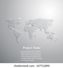 Glass world map background. Vector illustration.