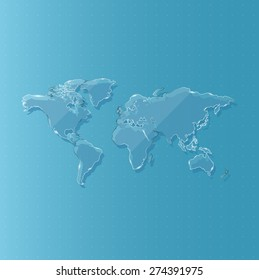 Glass world map for science and technology against background, Vector illustration