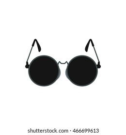 Glasses with black round lenses icon in flat style on a white background