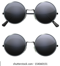 Glasses with black round lenses isolated on white background, illustration