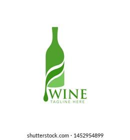 Glasses Bottle Vector Wine Logo Design Stock Vector
