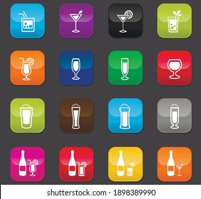 Glasses and bottles for alcoholic beverages vector icon set. Colored buttons on a dark background