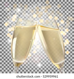 Glasses of Champagne Full and on Transparent Background Vector Illustration