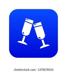 Glasses champagne icon blue vector isolated on white background