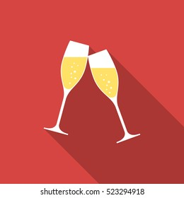 Glasses of champagne. Illustration in a flat design with long shadow