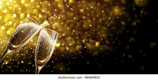 Glasses of champagne on bright background with bokeh effect. Vector illustration