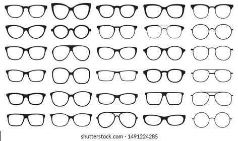 Glasses collection. Sunglasses set. Vector illustration