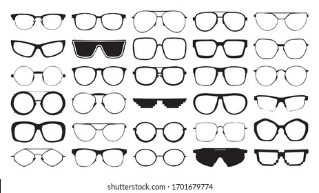 Glasses collection. Sunglasses set. Vector.