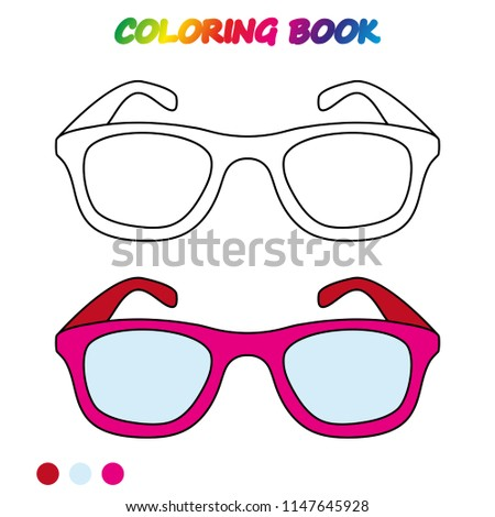 Glasses Coloring Page Worksheet Game Kids Stock Vector Royalty Free