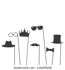 Glasses, crown, mustaches, hats, gentelmens icons set on a stick
