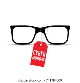 glasses with a cyber monday tag