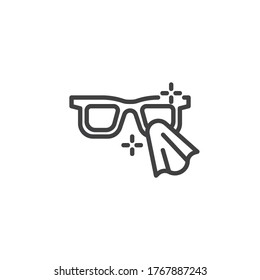 Glasses disinfection line icon. linear style sign for mobile concept and web design. Cleaning eyeglasses outline vector icon. Symbol, logo illustration. Vector graphics
