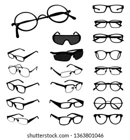 Glasses Eyeglasses Spectacles Silhouette Shape Variations Set