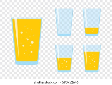 Glasses with fresh sparkling orange or carrot juice. Set of flat icons isolated on checkered background. Yellow liquid in transparent container. Stylized vector eps10 illustration with transparency.