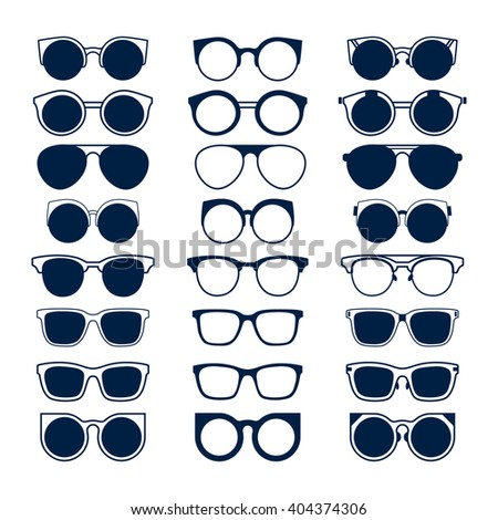 377f4819277 Glasses and Geek sunglasses vector set fashion hipster collection. Big  vector set of icons of different shapes sunglasses in trendy flat style.