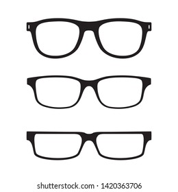 Glasses graphic icons set. Eyeglasses signs isolated on white background. Spectacles symbols. Accessory pictograms in flat design. Vector illustration