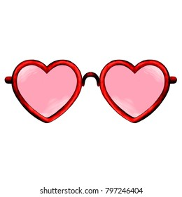 glasses heart shape sketch vector graphics color picture