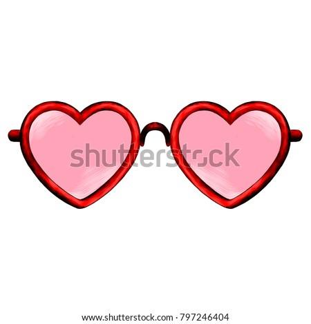 20965b5b28f Glasses Heart Shape Sketch Vector Graphics Stock Vector (Royalty ...