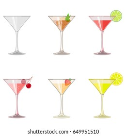 Glasses with iced drinks, icons set. Cocktails with juice, fruits, berry, sliced lemon, lime, and mints. Abstract concept. Flat design. Vector illustration on white background.