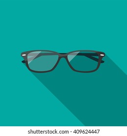 Glasses icon. Flat design style modern vector illustration. Isolated on stylish color background. Flat long shadow icon. Elements in flat design.