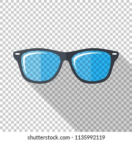 Glasses icon in flat style with long shadow on transparent background