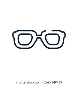 glasses icon over white background, line style, vector illustration