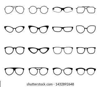Glasses icon set, eyeglasses optical fashion vision. Vector flat style glasses cartoon illustration isolated on white background
