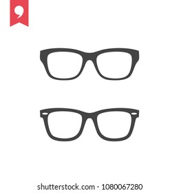 Glasses icon vector, eyeglasses symbol. Accessory pictogram, flat vector sign isolated on white background.