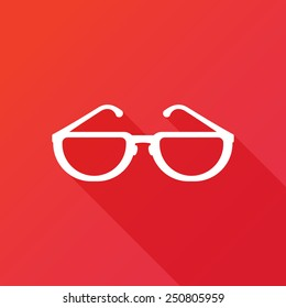 Glasses Icon. Vector illustration flat design with long shadow