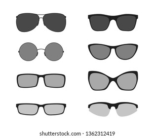 Glasses icons, isolated on white background. Black silhouettes of modern glasses