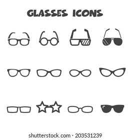 glasses icons, mono vector symbols