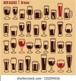 Glasses icons set. Beer glass isolated icons collection. Wine glass. Cups.