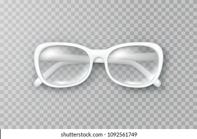 Glasses isolated on transparent background. White fashion woman eyeglasses with shade top view. Vector optical product template for your advertising design.