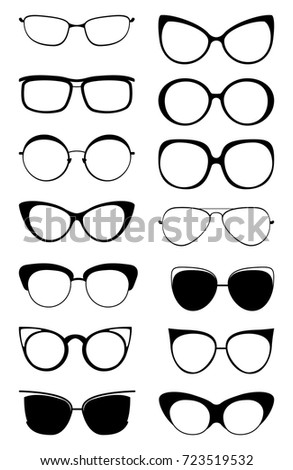 10e2a4d4aa8 Glasses kitty icon set. Cat eyes masquerade fashion glasses style isolated  on white background.