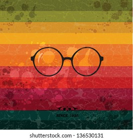 Glasses label on colorful retro background with grunge paper.