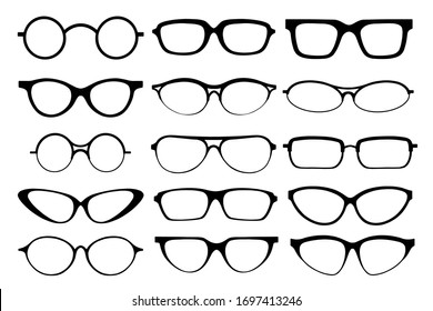 Glasses line art silhouette, eyewear and optical accessory. Medical classic ocular set. Vector glasses illustration on white background