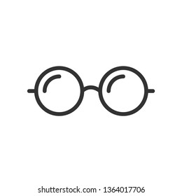 Glasses line icon on white background