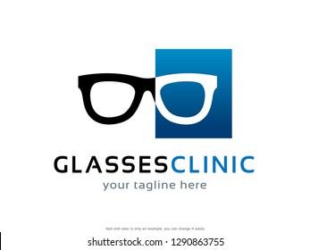 Glasses Logo Template Design Vector, Emblem, Concept Design, Creative Symbol, Icon