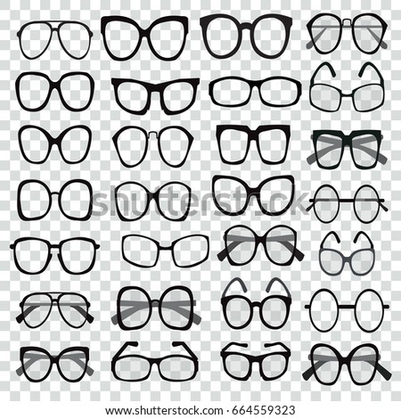 Glasses Model Icons Different Shapes Frame Stock Vector (Royalty ...