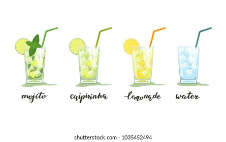 Glasses of mojito, caipirinha, lemonade and water with ice. Summer drinks with handwriting. Vector illustration isolated on white background