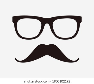 Glasses with moustache graphic trendy vector design.