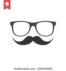Glasses and Moustache vector icons, Barbershop symbol