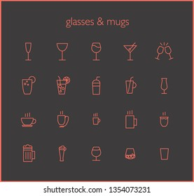 Glasses and mugs. Icons' set. Monochrome vector illustration in outline style.