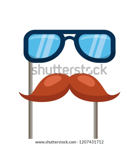 b870612fd18 glasses and mustache carnival costume party. Accessories for festival and  party. Vector illustration isolated