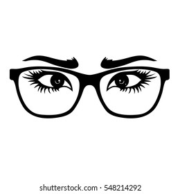 Glasses with nice eyes. Vector ilustration.