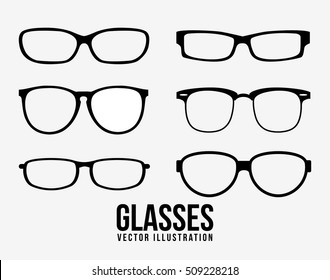 Glasses object icon set. Fashion style accessory optical and lens theme. Isolated design. Vector illustration