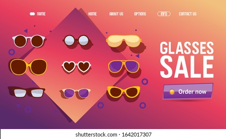 Glasses online shop sale, icons for website vector illustration. Landing page template for fashion glasses store promotion. Sunglasses in different style and shape, special price offer discount online