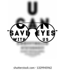 Glasses Optician, Vision Of Eyesight Eye Care Concept Vector Illustration.  Blured Eye Test.