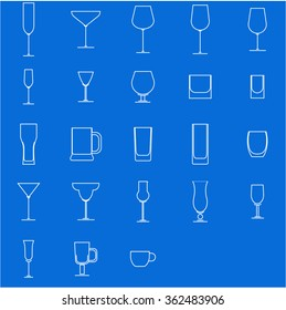 glasses outline icons on blue background