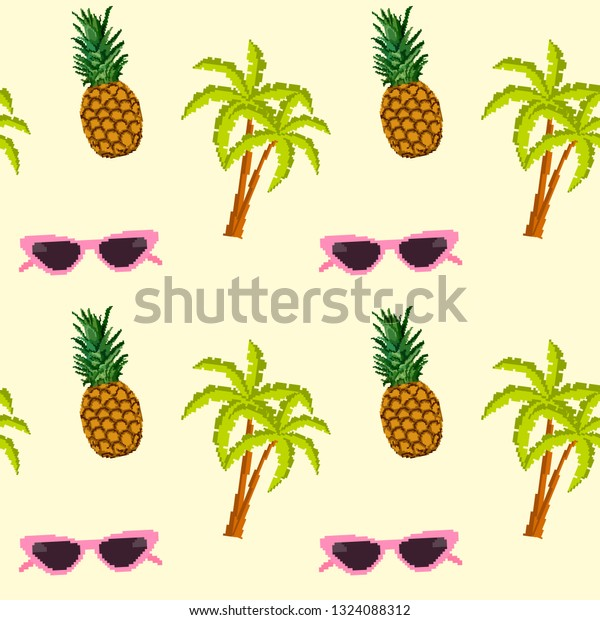 Glasses Palm Trees Pineapples Pixel Art Royalty Free Stock